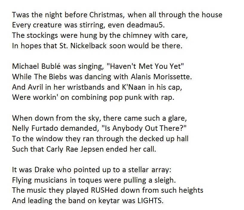 Christmas Rap Music.Twas The Night Before Canadian Rock Star Christmas