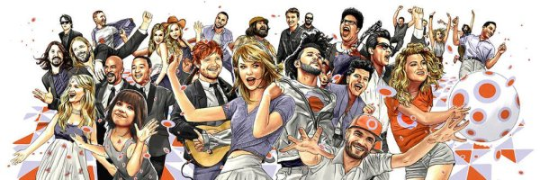 pop stars collage cartoon