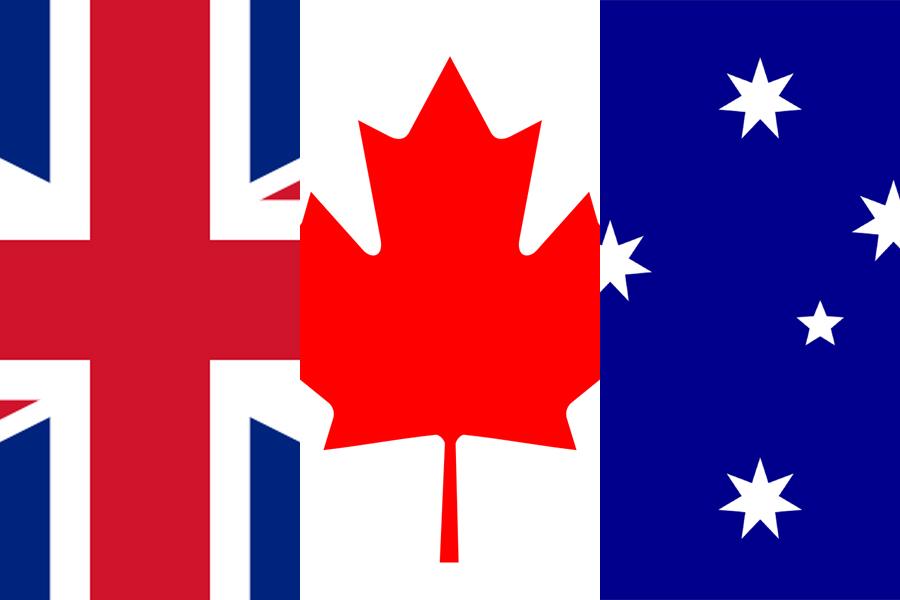 UK Canada Australia Flag Combo
