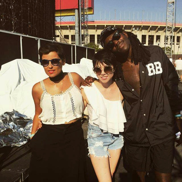 Carly Rae Jepsen (center) with Nelly Furtado (left) and Dev Hynes (right)